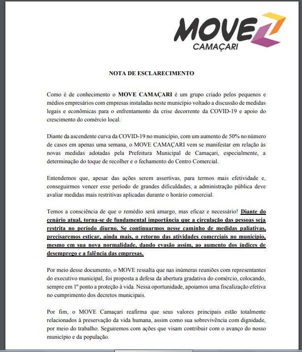 Grupo Move Camaçari apoia toque de recolher, porém sugere medidas mais rígidas 1